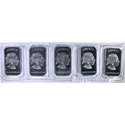 "5-ONE OUNCE .999 SILVER BARS ""INDIAN/BUFFALO"""