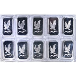 "10-ONE OUNCE .999 SILVER BARS ""EAGLE"""