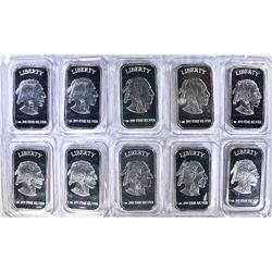 "10-ONE OUNCE .999 SILVER BARS ""INDIAN/BUFFALO"""