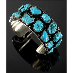 Navajo Raw Sleeping Beauty Turquoise Nugget Cuff
