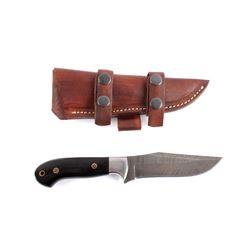 CFK Damascus & Buffalo Horn Knife w/ Scabbard