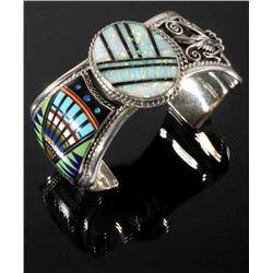 Signed Navajo Multistone Micro Mosaic Silver Cuff