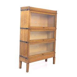 Oak Macey Three Section Barrister/ Lawyer Bookcase