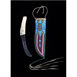 Sioux Beaded Sheath & I. Wilson Buffalo Skinner