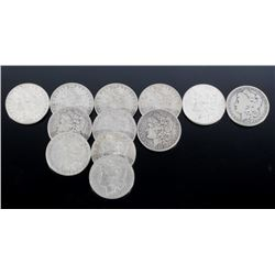 1878-1889 Morgan Silver Dollars x12 Coins