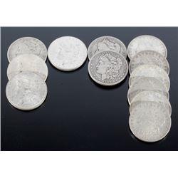 1884-1921 Morgan Silver Dollars x12 Coins