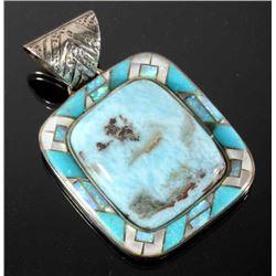 Navajo Chrysocolla, Opal & Turquoise Pendant RARE