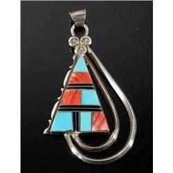 Signed Navajo Inlaid Multistone Sterling Pendant