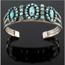 Antique Navajo Sterling Silver & Turquoise Cuff