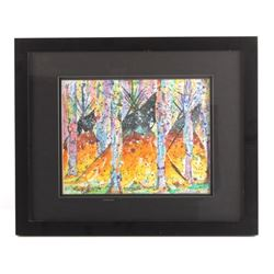 Original Wolf Tail Framed Watercolor Painting
