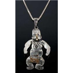 R Yazzie Navajo Sterling & 14k GF Kachina Necklace