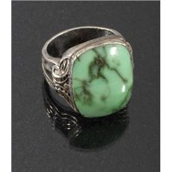 Navajo Cast Sterling & Carico Lake Turquoise Ring