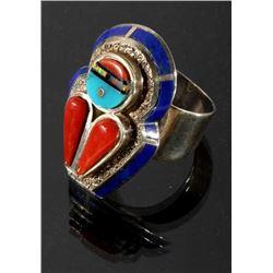 Signed Zuni Multi-Stone Sterling Silver Men's Ring