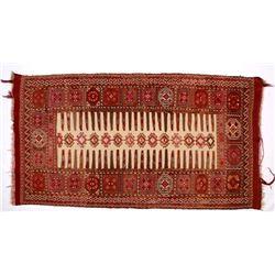 Persian Gabbeh Rug w/ Fully Fringed Field