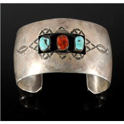 Navajo Sterling, Turquoise & Coral Shadowbox Cuff