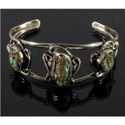 Navajo Sterling & Carico Lake Turquoise Bracelet