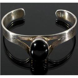 Sterling Silver & Onyx Cabochon Bracelet