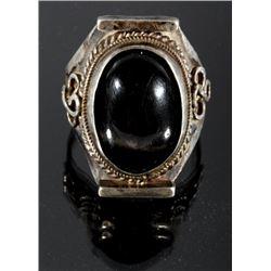 Navajo Sand Cast Silver & Black Labradorite Ring