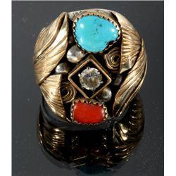David Navajo Sterling & Gold Fill Multistone Ring