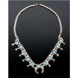 Navajo Silver & Blue Gem Turquoise Squash Blossom
