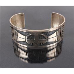 Navajo Signed Sterling Silver Carved Bracelet