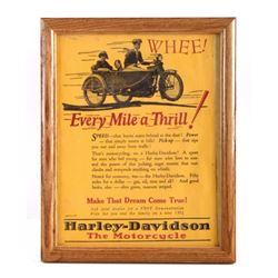 1924 Harley Davidson Framed Advertisement