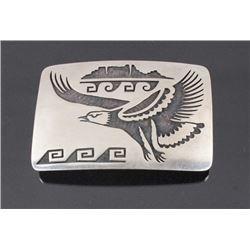 Navajo Sterling Silver Eagle Engraved Belt Buckle