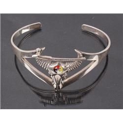 Plains Indians Silver Buffalo Skull Bracelet