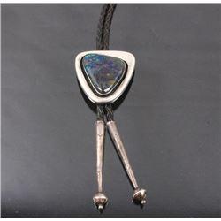 Navajo Silver and Blue Azurite Bolo Tie