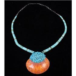 Zuni Turquoise Discoidal Shell Necklace