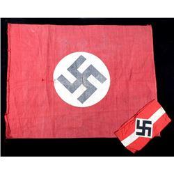 Nazi Flag & Hitler's Youth Swastika Armband