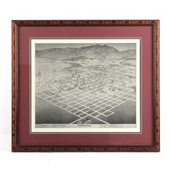 Bozeman Montana Bird's Eye View Framed Print