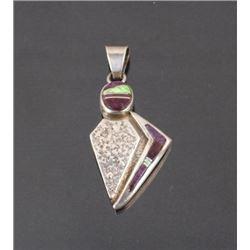 Silver Navajo Sugalite & Gaspeite Pendant