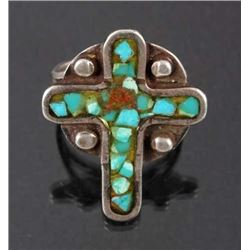 Navajo Chipped Turquoise Sterling Silver Ring