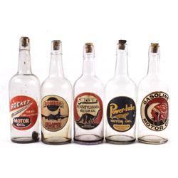 Vintage Motor Oil Decals on Glass Bottles