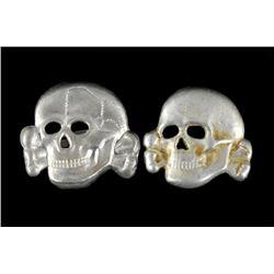 German Nazi SS Totenkopf Hat Skulls x2