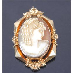 Antique Carved Shell Cameo Brooch Pin