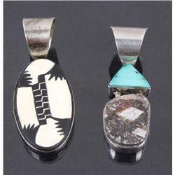 Set of Anasazi Sterling Silver Stone Pendants