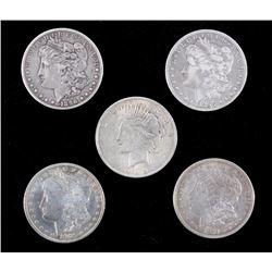 Five U.S. Silver Dollars 1896-1922