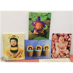 LOT OF 4 ANNE GEDDES CANVAS PICTURES