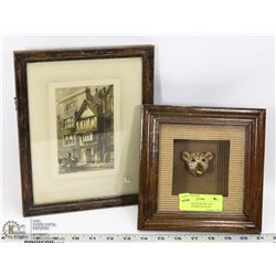 LEOPARD SHADOW BOX AND ANTIQUE FRAMED WORTHS