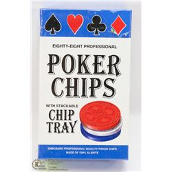 88 POKER CHIPS WITH CHIP TRAY