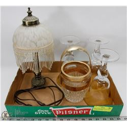 SMALL LAMP WITH TASSELS, WINE GLASSES AND MORE