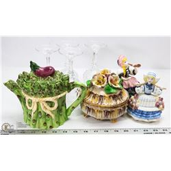 BOX OF WINE GLASSES, TEAPOT, FIGURINES