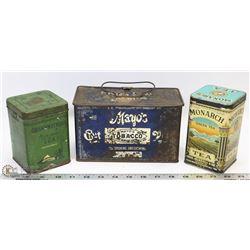 TWO TEA TINS & MAYOS CUT PUG TOBACCO TIN REG 1878