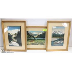 3 VINTAGE STUDIO PRINTS INCL 2 LAKE LOUISE AND