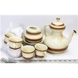 POTTERY TEA SET WITH POT, CUPS, SAUCERS AND SUGAR