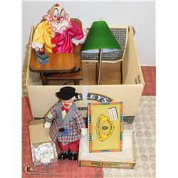 2 PORCELAIN CLOWNS WITH SOLID WOOD DOLL DESK AND