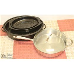 BOX OF COOK WARE INCLUDING ROASTER PANS AND MORE