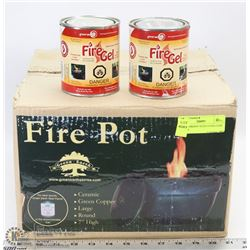 LARGE FIREPOT WITH EXTRA CANS OF FUEL